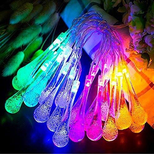 String Lights Name : Goldenwide Solar Outdoor String Lights 20 Led Water Drop Solar String Fairy Waterproof Lights ...