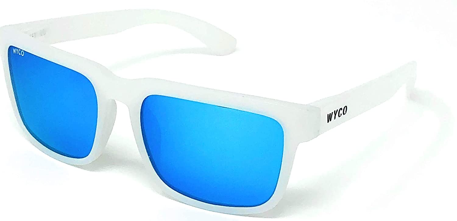 White Polarized Sunglasses with UV400 Predection for Men and Women by WYCO Style  colorful Frosted Frame Sunglasses