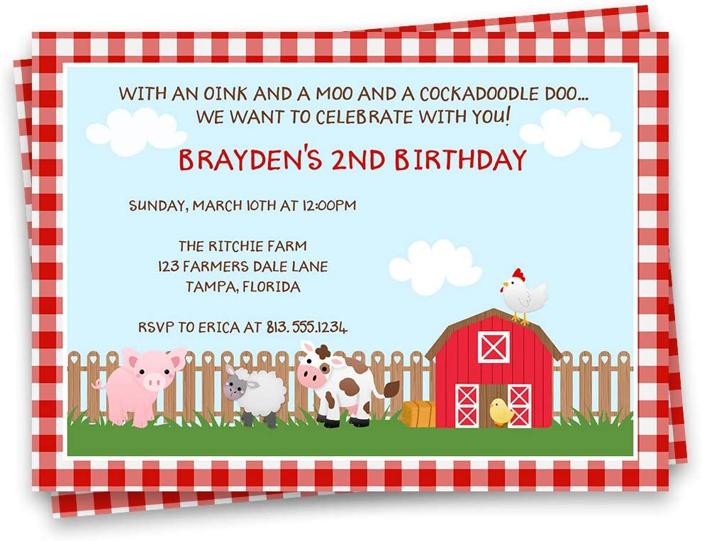 5 X Personalised FARM TRACTOR Birthday Party Invitation Invites Pig Cow Sheep