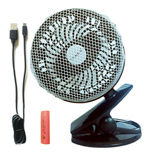 TimeLed Rechargeable 2600mAh Battery Operated Fan, Clip on & Desk Fan, 59-inch USB Cable, Quiet, Adjustable Powerful Wind for Baby Stroller, Crib, Outdoor Activity, Home and Office (Black)