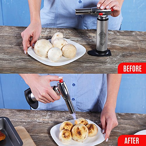 BEST CULINARY TORCH - Chef Torch for Cooking Crème Brulee - Aluminum Hand Butane Kitchen Torch - Blow Torch with Adjustable Flame - Cooking Torch - Perfect for Baking, BBQs, and Crafts + Recipe e-Book