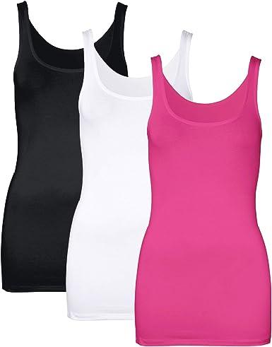 DYLH 3 paquetes de camiseta de tirantes de algodón elastizada para mujer, camiseta básica casual de verano atlética - - Small: Amazon.es: Ropa y accesorios
