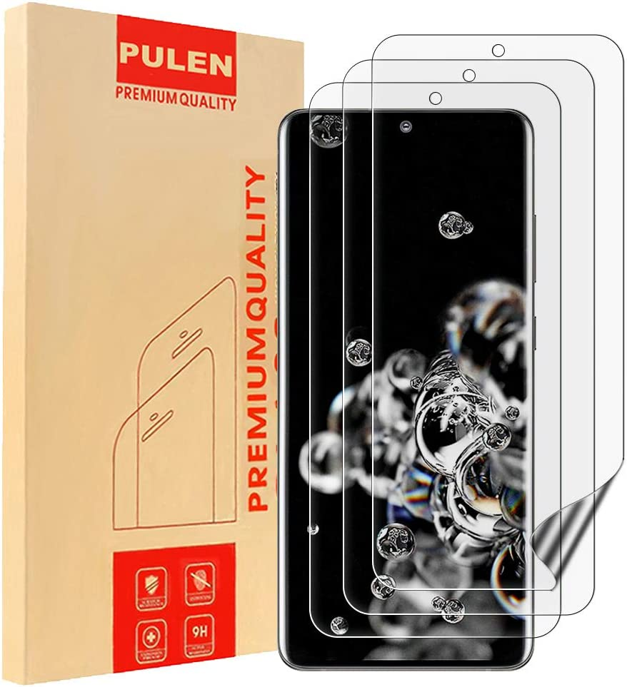 PULEN [3 Pack] Compatible con Samsung Galaxy S20 Ultra 6.9 Inch Protector de pantalla, cobertura completa de película de TPU [no cristal] antiarañazos, HD transparente película antiburbujas: Amazon.es: Electrónica