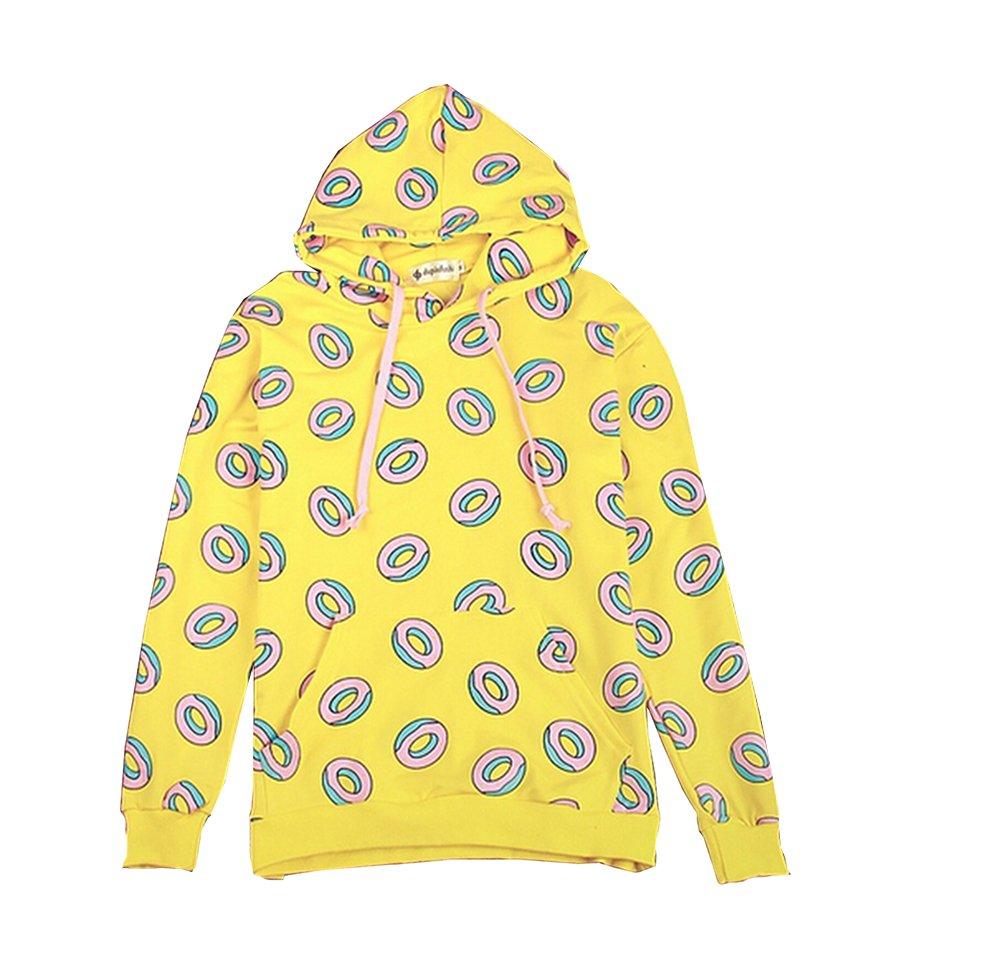 Kpop GOT7 Mark Yellow Jump Hoodie Creative Donut Pattern Sweatershirts Yellow US L(Tag XL)