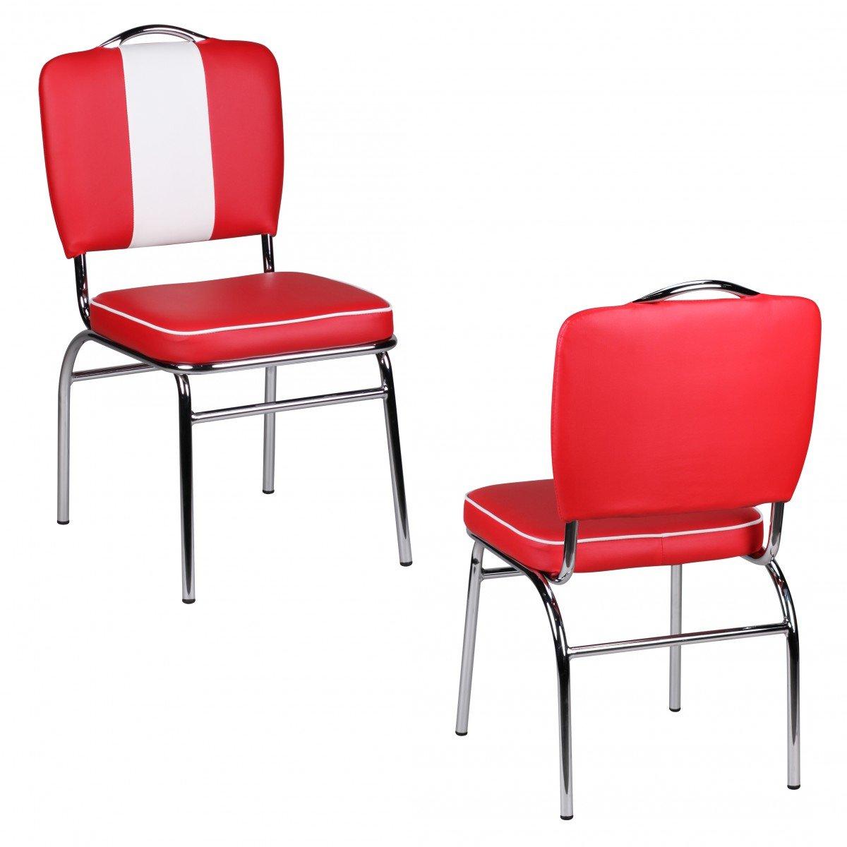 Esszimmerstuhl Diner 50er Jahre Retro Rot Weiß
