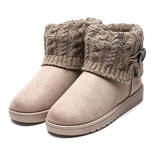 Botas de Mujer Botas Nieve Cabeza Redonda Planas Botas Elegante Gamuza Botines para Adulto Caliente Martin Botas Button Zapatos Planos: Amazon.es: Zapatos y ...