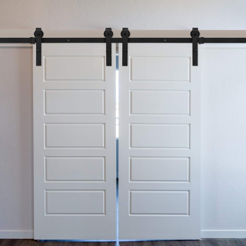 Houssem 12FT/366cm Herraje para Puerta Corredera Kit de Accesorios Rieles para Puertas Correderas, Juego de Piezas de Metal Carril para Puerta Deslizante for Double Door