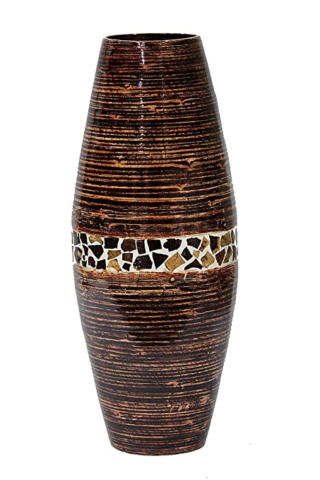 Awesome Heather Ann Creations Savannah Collection Decorative Handcrafted Rounded  Shape Natural Bamboo Vase With Large Opening,
