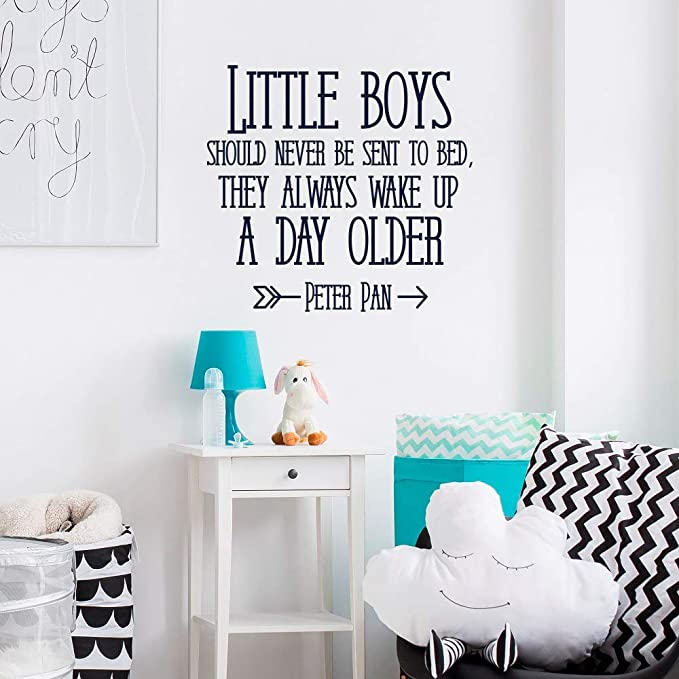 Peter Pan Quote Little Boys Should Never Be Sent To Bed Sign Boy Baby Shower Gift Tribal Nursery Rustic Nursery Decor