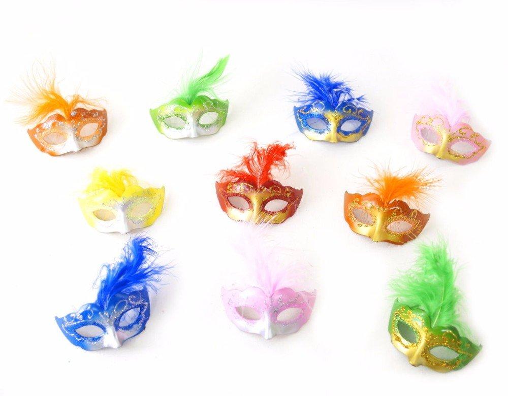 12 Mixed Mini Mardi Gras Mask Miniature Masquerade Decoration Quince Favor