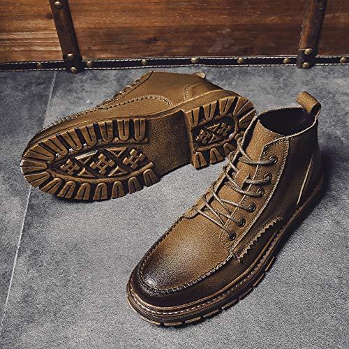EAOJRSCSA Herbst und Winter Martin Stiefel Männer Hohe Stiefel Kurze Kurze Kurze Stiefel Wilde, um dem Trend der Stiefel Herren Lederstiefel zu helfen ae8f6a
