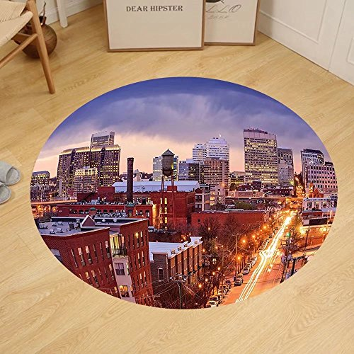 Gzhihine Custom round floor mat United States Richmond Virginia Highway Office Buildings Downtown at Dusk Urban Lifestyle Bedroom Living Room Dorm - Outlets In Richmond Virginia