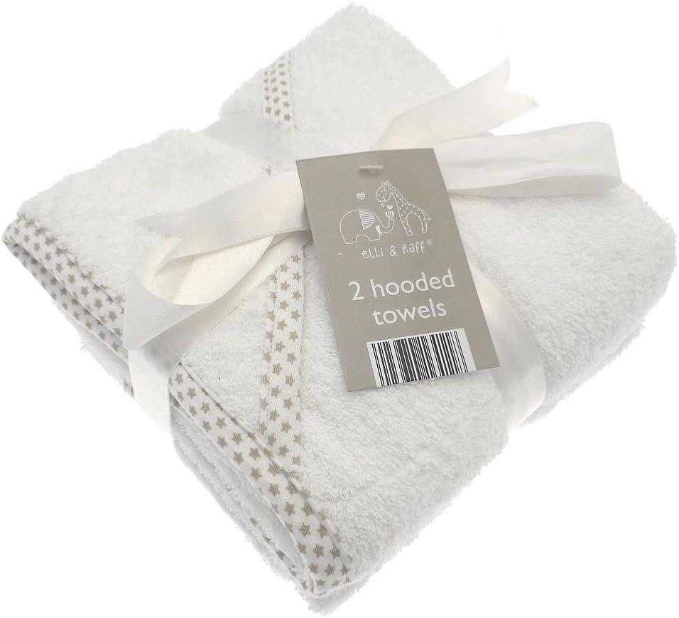 2suave blanco Elli y Raff para bebé con capucha toalla de baño 100% algodón bebé regalo (blanco)