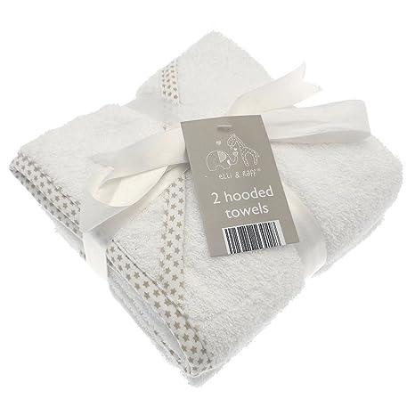 2 suave blanco Elli y Raff para bebé con capucha toalla de baño 100% algodón