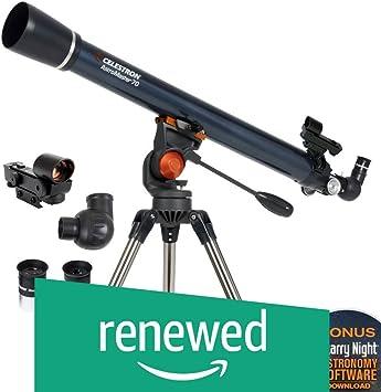 Refractor Telescope for Beginners BONUS Astronomy Software Package Adjustable-Height Tripod Celestron AstroMaster 70EQ Refractor Telescope Fully-Coated Glass Optics