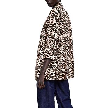 ZHRUI Abrigo de Leopardo para Mujer, Chaqueta de Punto de ...