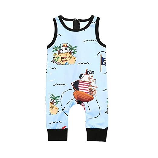 e531e14be97 Newborn Toddler Baby Boy Girl Summer Cartoon Pirate Print Rompers Zip Jumpsuit  Clothes 1-3T
