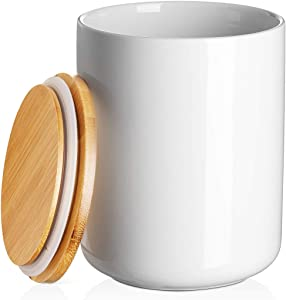 DOWAN Ceramic Kitchen Utensil Holder for Countertop with Airtight Lid - Kitchen Jar, 54 FL OZ (1400 ML) Food Storage White Canister, Utensil Crock for Dry Goods and Food, 4.9 x 6.29 inches