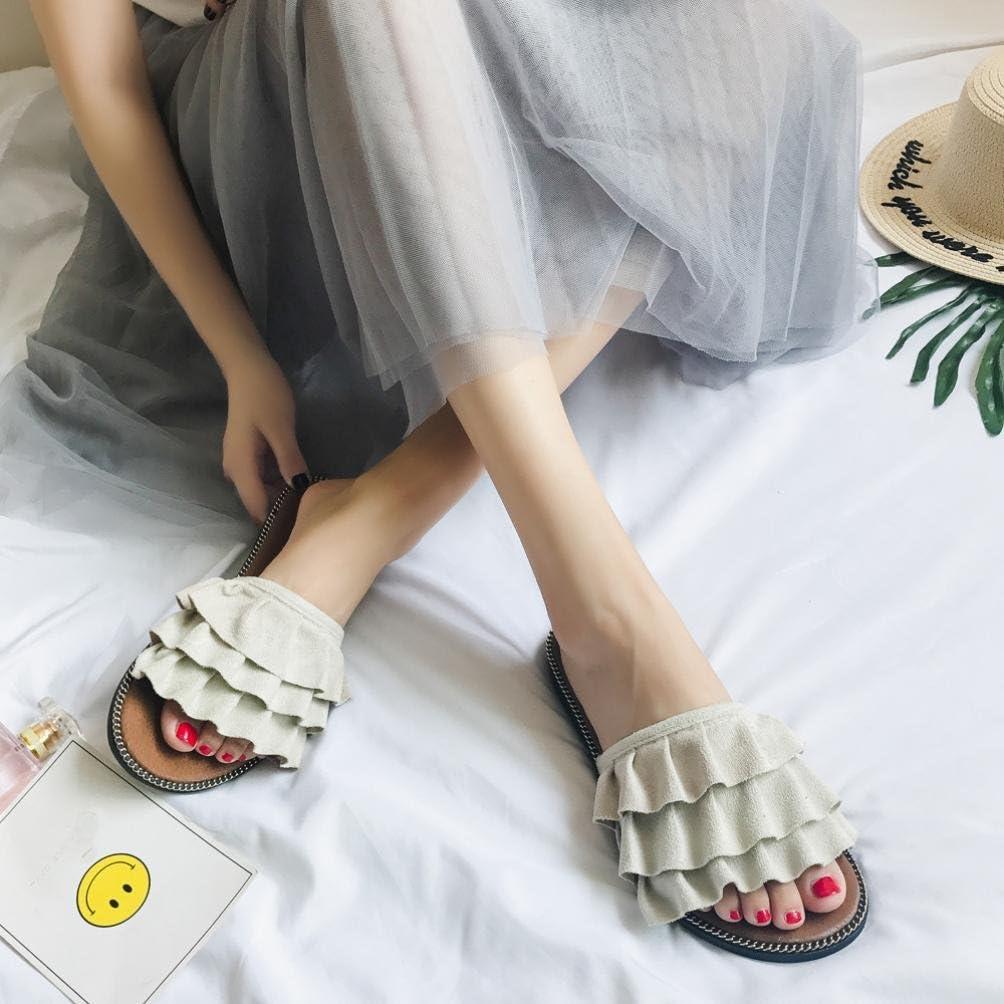 Ciel Feuillet Estival des Sandales en Slippers Pantoufles l/ét/é Femme honestyi larc des Espadrilles Sandales