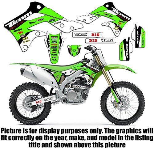 (Team Racing Graphics kit compatible with Kawasaki 2008-2018 KLX 140 & 140L, EVOLV)