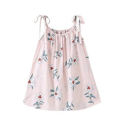 feiXIANG Vestido sin Mangas de niña con Rayas Vestido de Tiras de Flores recién Nacido bebé