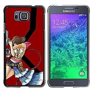 KLONGSHOP // Cubierta de piel con cierre a presión Shell trasero duro de goma Protección Caso - Sexy Girl with Guns - Samsung ALPHA G850 //