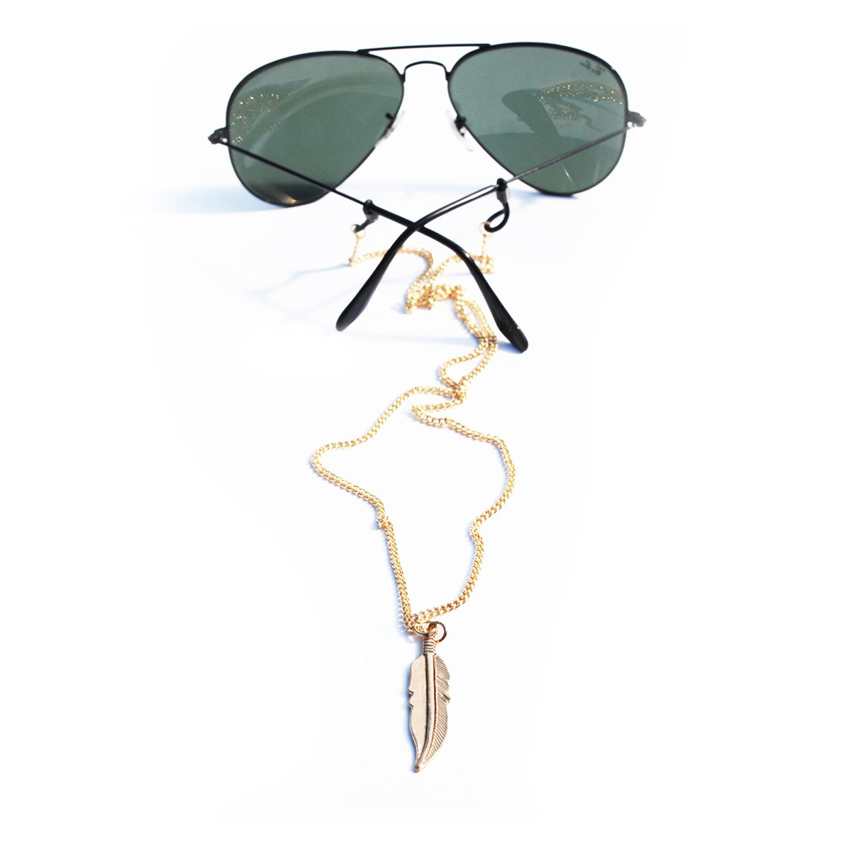 Sintillia Feather Drop Backlace Sunglass Strap, Glasses Chain, Eyeglass Cord (Gold with Black Attachments)