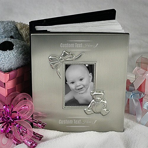 Center Gifts Baby Album with Teddy Bear and Bow, Personalized | Custom Baby Memory Book, Pewter Finish Picture Album for Boys & Girls | Keepsake, Baby Shower, Birthday | Engrave with Name or Message