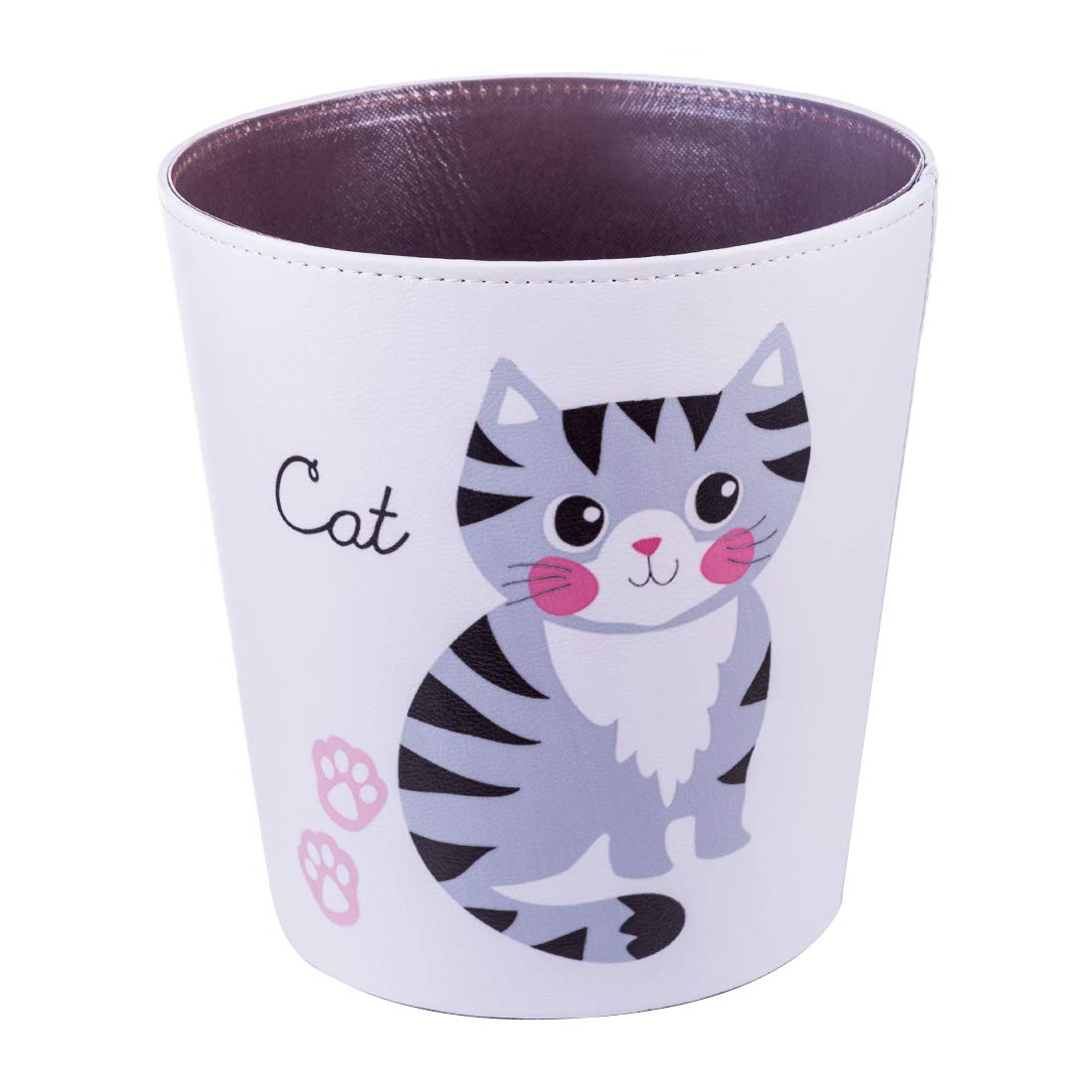 WOLFBUSH Household Trash Bin 10L Garbage Can with Cartoon Pattern Round PU Leather Waste Container Paper Wastebasket Dustbin Rubbish Bin for Home Kithcen Office (Cat)