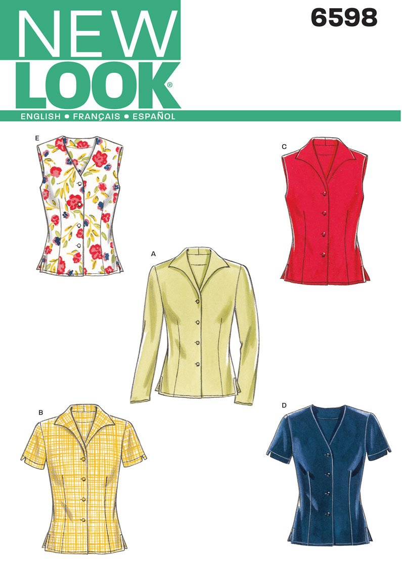 New Look Sewing Pattern 6598 Misses Tops, Size A (8-10-12-14-16-18) Simplicity Creative Patterns U06598A