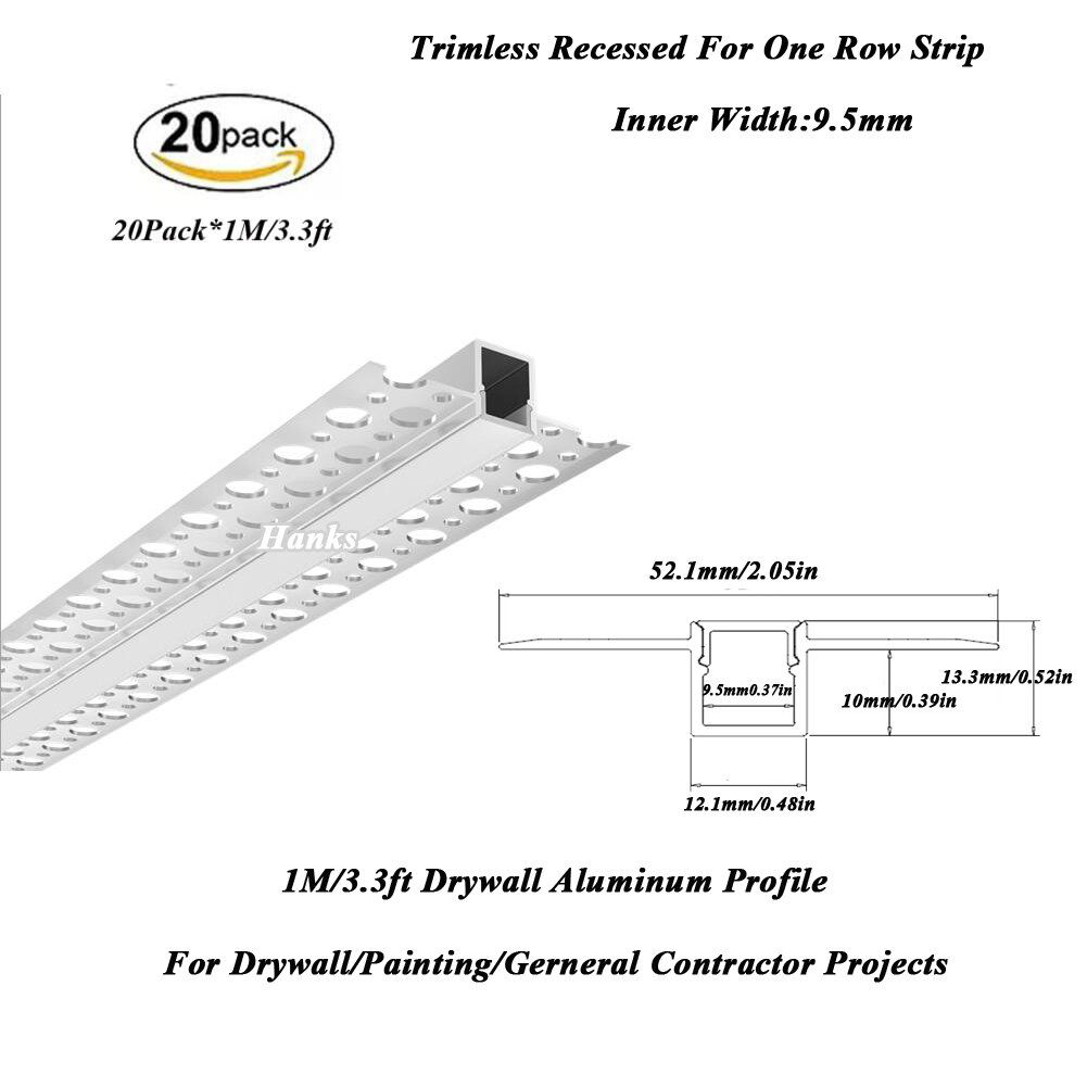 Hanks 20Pack 1M/3.3ft 52X13mm Trimless Recessed Aluminum Drywall Profile Channel Inner Width 9.5mm for Painting and Drywall Projects (20x1m)