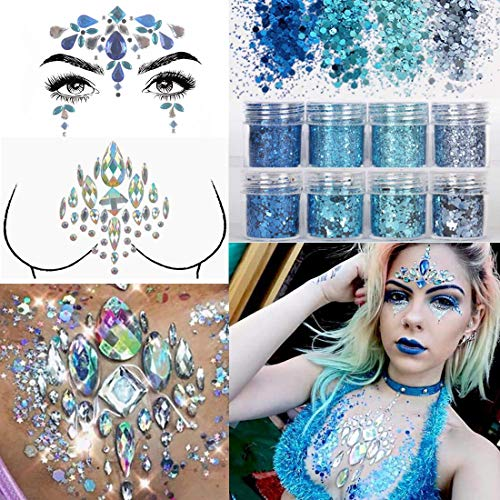 COKOHAPPY 2 Sheets Face & Breast Mermaid Rhinestones Sticker Gem with 8 Boxes 10ml Holographic Chunky Glitter Ultra-thin Colorful Mixed Paillette - Festival Rave Party Jewel Tattoo Set 4 ()