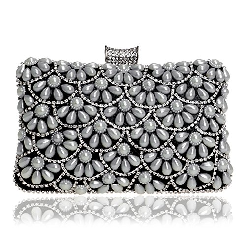 Bag Evening Dinner Women's Black Banquet Clutch Pearl GROSSARTIG Dress SfwEHn