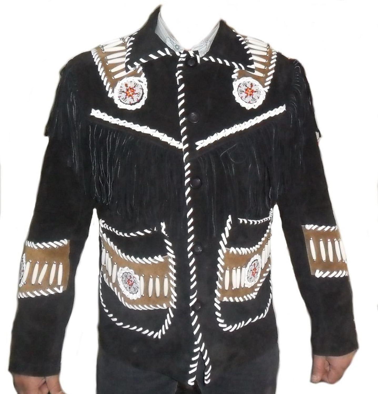 QMUK's Men Western Black Suede Leather Jacket Fringe Bone and Beads Work