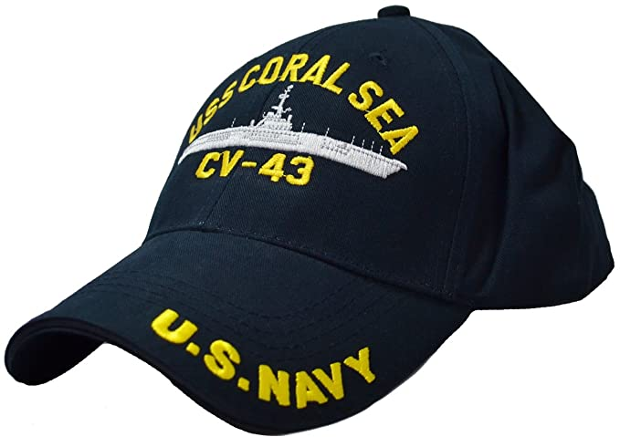 Amazon.com  Eagle Crest USS Coral Sea CV-43 Low Profile Cap Navy ... 76ba5c762c80