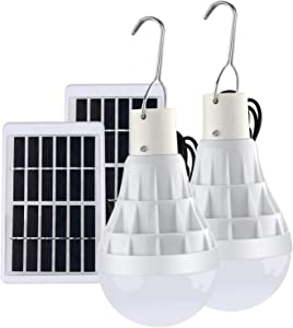 Lampelc Solar Light Bulbs Powered Solar Shed Camping Light Lamps for Outdoor Indoor Home Chicken Coop and Tent - 2 Packs (Upgraded Remote Control Bulbs)