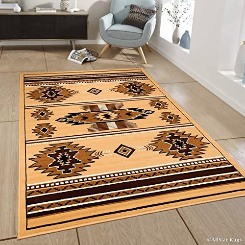 Allstar 8×11 Berber and Espresso Southwestern Rectangular Accent Rug with Ivory and Mocha Aztec Design 7 6 x 10 5