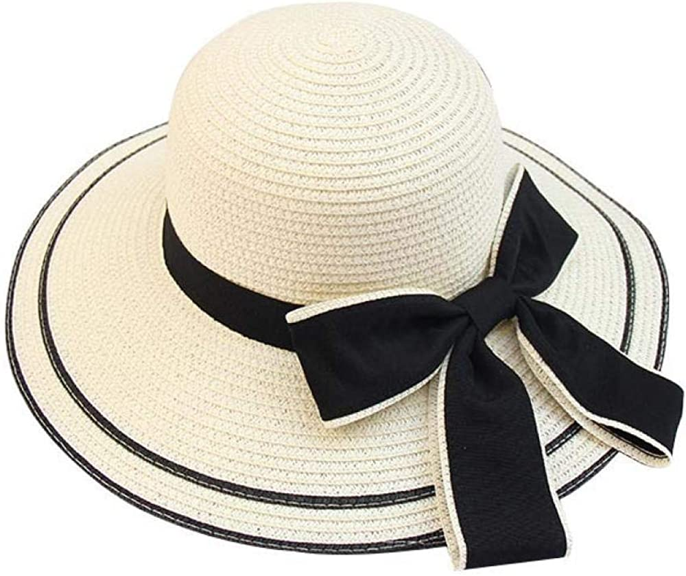 Sun Hat Big Black Bow Summer Hats for Women Foldable Straw Beach Panama Hat Visor Wide Brim Femme