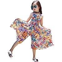 SO-buts - Mono de verano para niños y niñas, diseño floral, sin mangas, estilo bohemio, con mariposa, pierna ancha…