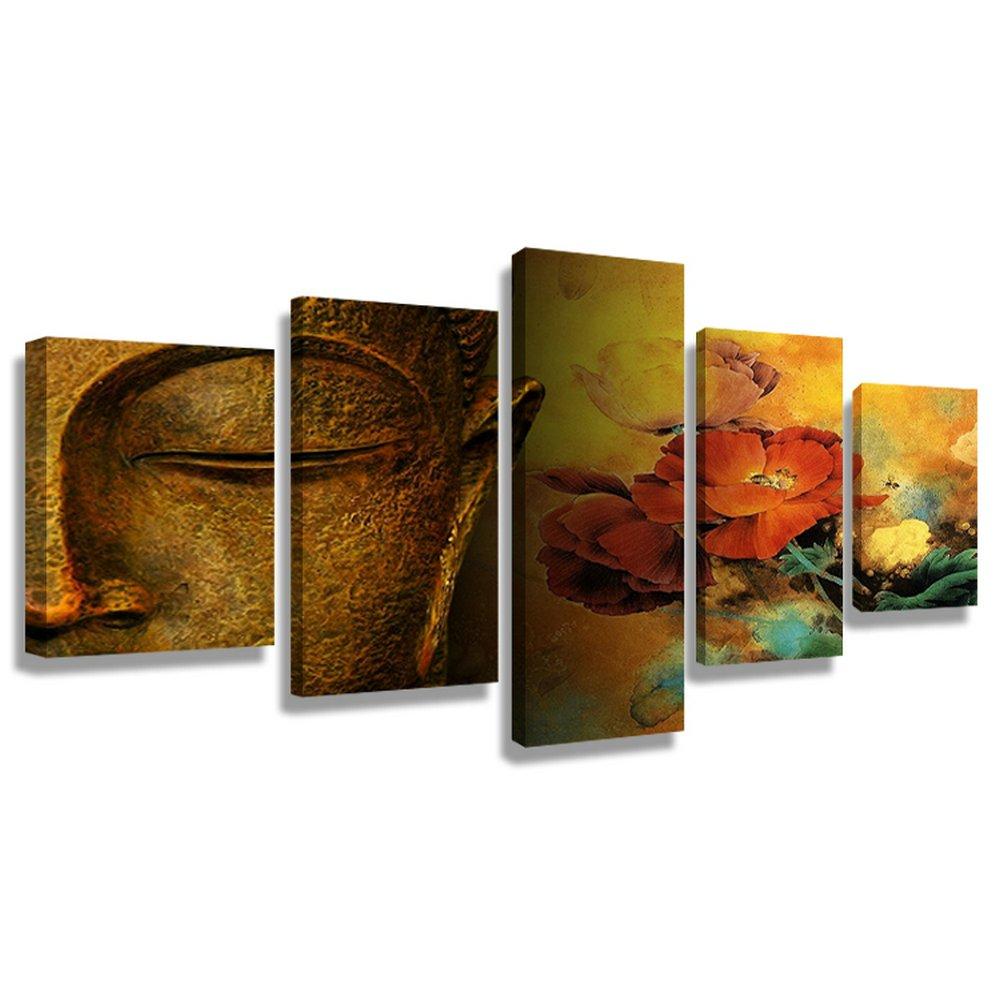 CrmaOArt アートパネル 「よく設計された仏」 壁掛け 風景写真の壁の写真を絵画 ポスター キャンバス絵画 5パネルセット(木枠付きの完成品)60インチx32インチ B076HGBKXB木枠付きの完成品 60インチx32インチ