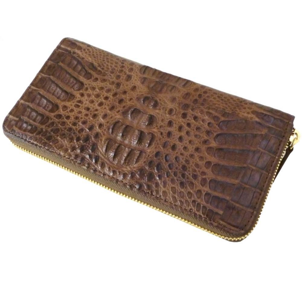 SantaMaria クロコダイル財布 レディース メンズ カイマンマットHB ラウンドファスナー 長財布 (シガー) B06ZY68QNJ