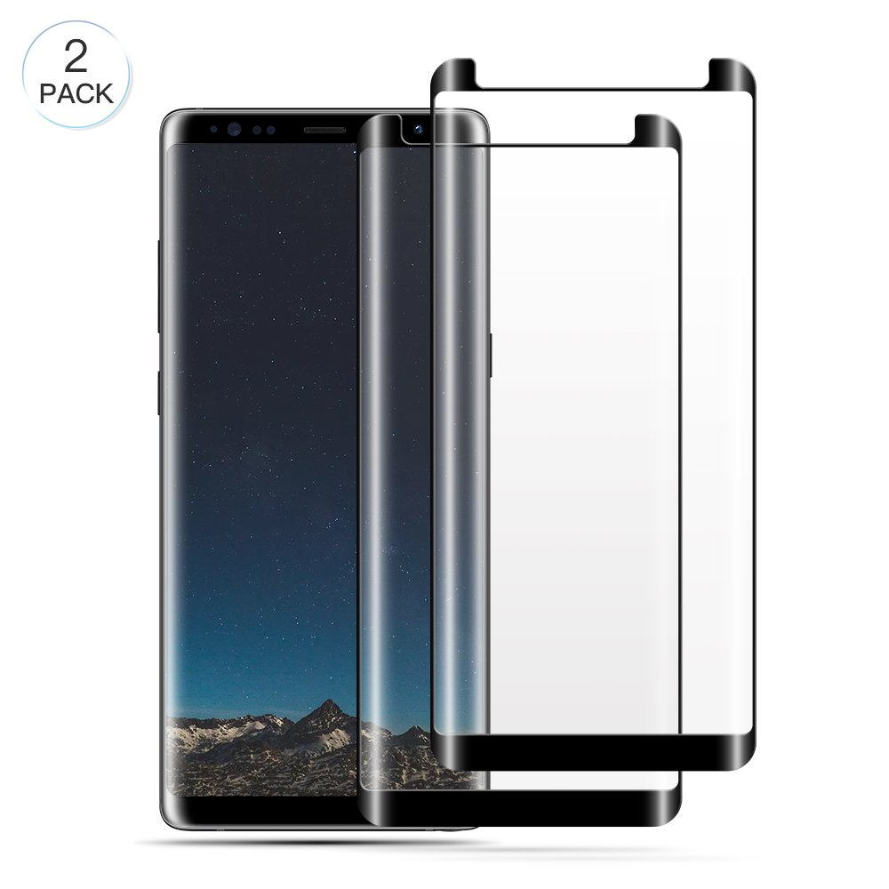 Note 8 Screen Protector, WengTech 3D Curved 9H Hardness Anti-Scratch Fully Adhesive Hot Bending Tempered Glass Screen Protector Film for Samsung Galaxy Note 8 (2 Pack)