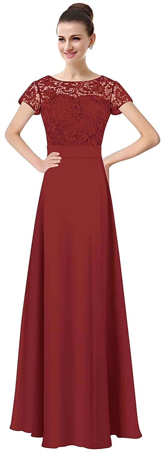 Bright Burgundy Lily Anny Womens Long Lace Bridesmaid Dresses Prom Gown with Short Sleeves L061LF