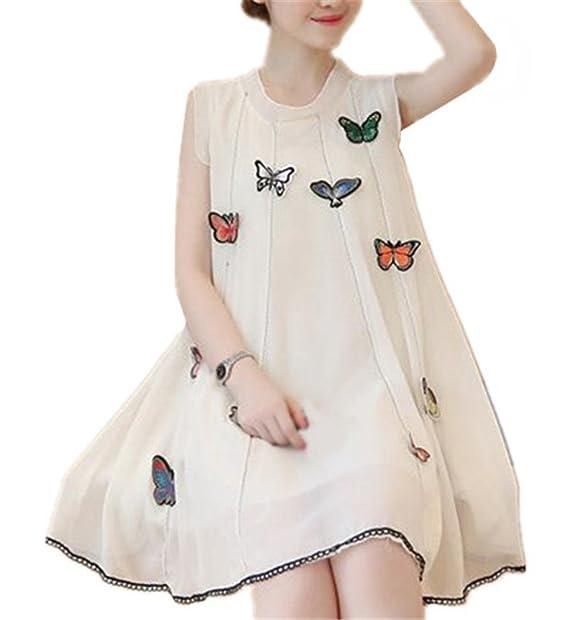 BESTHOO Embarazo Ropa Mujer Primavera Y Verano Vestido de Gasa Embarazadas Ropa Sin Mangas Plus Size Vestido Costura Mariposa Vestido Delicadas: Amazon.es: ...