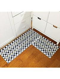 Easychan 2 Piece Carpet Rubber Backing Non Slip Kitchen Mat Doormat Area  Rugs (17