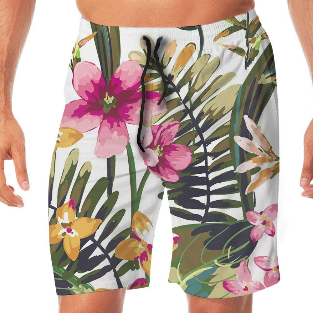 Quick Dry Men's Beach Shorts Flowers Floral Pattern Swim Trunks Surf Board Pants Pockets Tydo