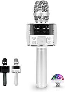 M100 - Karaoke Microphone, Bluetooth Microphone Wireless, Carpool Karaoke Microphone, Portable Handheld Microphone and Speaker with LED Screen, Karaoke MIC