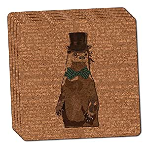 Dandy Otter Bowtie Top Hat Thin Cork Coaster Set of 4