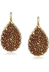 Panacea Beaded Crystal Gold Teardrop Earrings