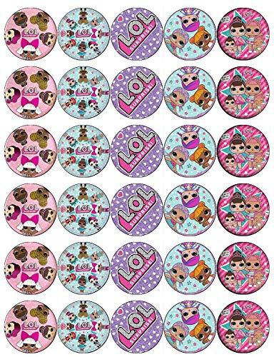 30 decoraciones de oblea comestibles para cupcakes, diseño de muñecas sorpresas de LOL